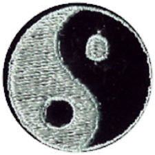 51066 Black & Mint Green Yin Yang Symbol Opposites Embroidered Sew Iron On Patch