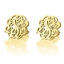 Stud Earrings Monogram Fashion Gold Plated Name Initial Earrings - oNecklace ®