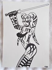 A4 Art Marker Pen Sketch Drawing Darth Talon Sith from Star Wars Poster a