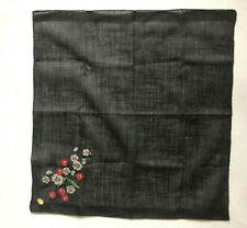 Vintage Embroidered Black Handkerchief with Cherries and Flowers - Switzerland