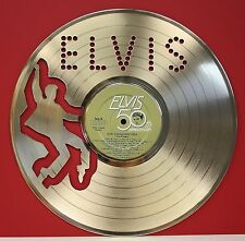 "Elvis Presley ""50th Anniversary"" Laser Cut Gold LP Record LTD Edition Wall Art"