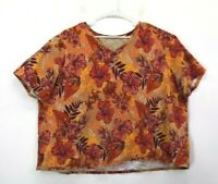 Catherines Women's Plus Size 4X 30/32 W V-Neck Short Sleeve Floral Blouse
