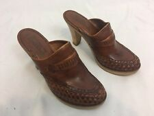 Vintage 70's Qualicraft clog Shoe Heel Brazil leather wood heel Hippie Boho 8