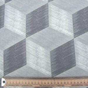 GREY BLOCKS LARGE FABRIC REMNANT  49cms x 134 cms  POLY COTTON PATCHWORK CRAFTS