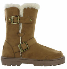 ca63ba7b1f76 Ella Fur Lined Alex Twin Buckle Snugg Warm Flat Womens Winter BOOTS UK 3 - 8