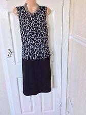 Debenhams Black/white Peplum Dress Size 16 Immac
