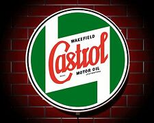 CASTROL LED 600mm ILLUMINATED WALL LIGHT CAR BADGE GARAGE SIGN LOGO MAN CAVE