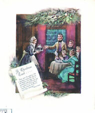Vintage UNused Card DICKENS A CAROL Scene THE CHRISTMAS PUDDING Cratchit Family