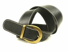 G242 H&M Damen Gürtel 85 cm dickes Leder schwarz Jeansgürtel Hosengürtel