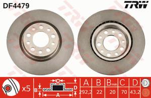 TRW Brake Rotor Pair Rear DF4479S fits Alfa Romeo 159 1.7 TBi (939), 2.4 JTDM...
