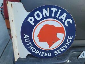 Vintage Pontiac Authorized Service Double Sided Flange Porcelain Sign
