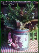 Antique Primitive Tin Bucket with Xmas Tree in Burlap & Santa Postcard Label