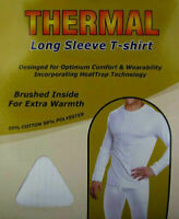 Men's Long Sleeve Thermal Insulated Brushed T Shirt Vest Heat Trap Technology