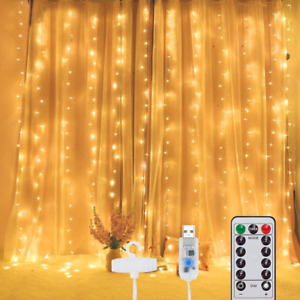 300 LED Curtain Light with Hooks 3mX3m, Fairy String Lights Timer 8...
