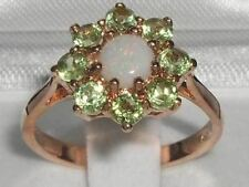 HIGH QUALITY 9CT ROSE GOLD OPAL & PERIDOT CLUSTER RING
