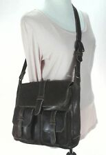 FRYE Messenger Purse Shoulder Bag Brown Crossbody w Yellow Stitching $378 New