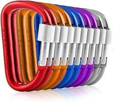 Carabiners Clip Set 10 Multicolor Pack of 3 Inch Locking D Ring Shape Clips NEW