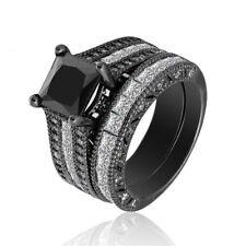 14kt Black Gold Filled Black Sapphire Elegant Women Wedding 2pcs Ring Size 6-10