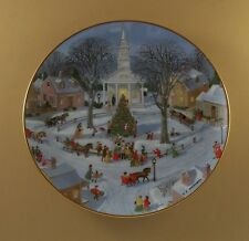 An Old Time Country Winter Christmas Tree Lighting Plate Danbury Mint Church