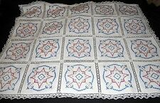 """Vintage Hand Embroidered Linen Tablecloth Blue Red Gold Stars 43 x 55"""" Excellent"""