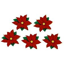 Christmas Dress it up Buttons, Red poinsettias, Scrapbooking,  craft