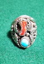 STERLING SILVER MENS RING TURQUOISE & CORAL NATIVE AMERICAN JEFF LARGO Sz 12