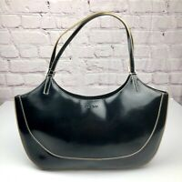 DKNY Donna Karan Womens Black Patent Leather Logo Large Shoulder Tote Bag