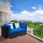 2pcs Patio Furniture Set Outdoor Leisure Garden Rattan Corner Sofa With 2 Pillow