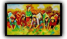 Indian Oil Painting  On Canvas, Textured, Palette Knife, Boats, Abstract, Sea