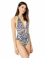 $154 Trina Turk V-Front Keyhole Halter One Piece Swimsuit Black Zebra Size 4