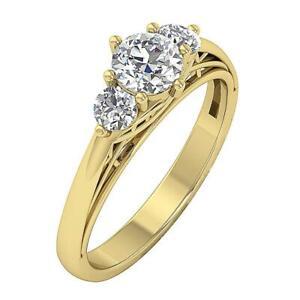 3 Stone Wedding Round Cut Diamond Ring I1 G 1.00 Carat 14K White Gold Prong Set