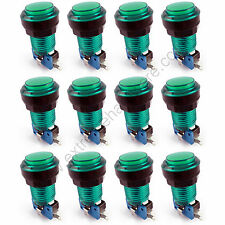 12 x 28mm Round 12v LED T10 Bulb Arcade Buttons & Microswitches (Green) - MAME