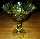 "Vintage Fenton Olive Green Thumbprint Ruffle Edge Compote 6.5"" tall"