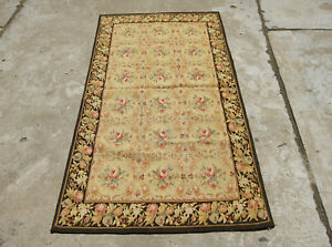 3'X5'Antique French Countryside Needlepoint Floral Rug Black Wood Color Handmade