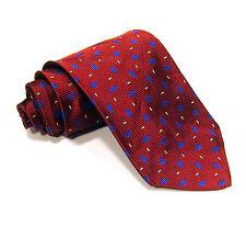 Men's Paul Fredrick 100% Silk Woven Maroon Blue Geometric Tie Classic Necktie