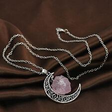 Natural Quartz Crystal Point Chakra Healing Gemstone Moon Pendant Necklace retro