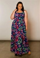 Plus Size Maxi Dress 1X-6X Empire Sleeveless Polyester Blend SWAK Navy Red Green
