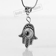 White Hamsa Hand of Fatima EVIL EYE Necklace Lucky charm Choker karma Pendant