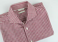SUITSUPPLY COTTON TWO PLY Men's ~M-L Checked Cutaway Slim Fit Shirt 24114_JS