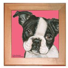 """Boston Terrier Dog Kitchen Ceramic Trivet Framed in Pine 8"""" x 8"""""""