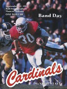 1981 Ball State vs McNeese St Football Program Signed AD/HC Dwight Wallace