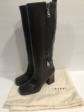 MARNI Womens Brown Leather Knee High Tall Platform Boots  35 EUR 5 US