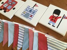 NURSERY LONDON SOLDIER CANVASES BUNTING red blue bus baby boy castle handmade