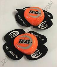 R&G Racing Motorcycle Orange / Black Aero Knee Sliders Pair Track Day Kneeslider
