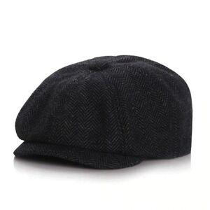 BOYS' HAT CHARCOAL COLOR NEWBORN COTTON & LINEN FLAT CAP HAT