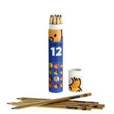 Boîte Tube bleu avec 12 crayons de couleur Les Aventures de Tintin (54782)