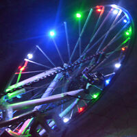 20 LED Fahrrad Speichenlicht bunt blau rot  Beleuchtung Rad Speichen Licht Pop