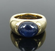 Estate Wempe 10.0ct Cabochon Cut Natural Sapphire & 18K Yellow Gold Ring