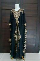 kaftan abaya maxi dress gold lace  gothic plus size maternity bohemian arabian