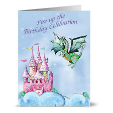 24 Note Cards - Dragon and Castle Birthday - Plum Purple Envs